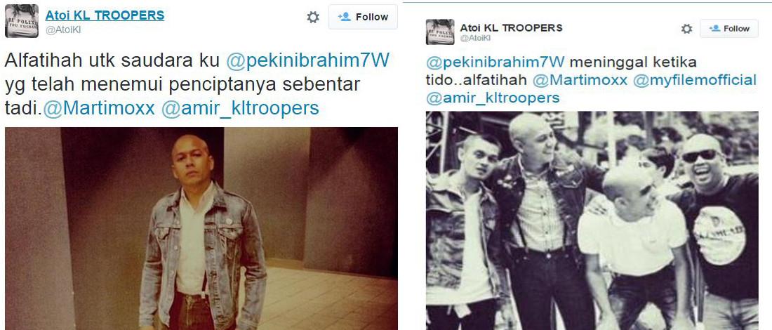 Penyebar Berita Kematian Pekin Dikecam Pengikut Twitter