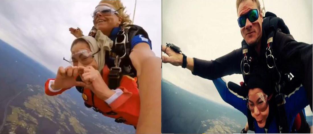 Foto Menarik Umie Aida, Erma Fatima Terjun Dari Udara Paras 14 Ribu Kaki
