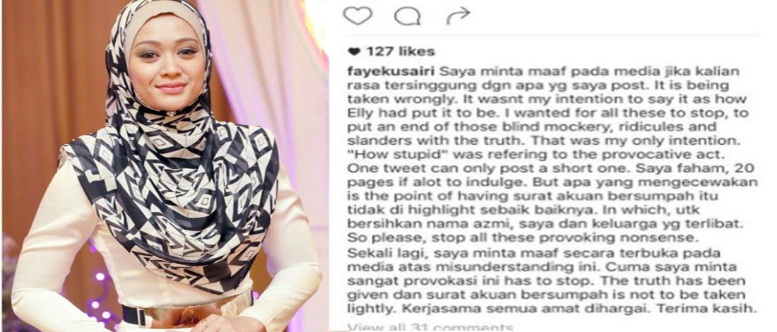 Faye Kusairi Mohon Maaf, Tiada Niat Singgung Wartawan