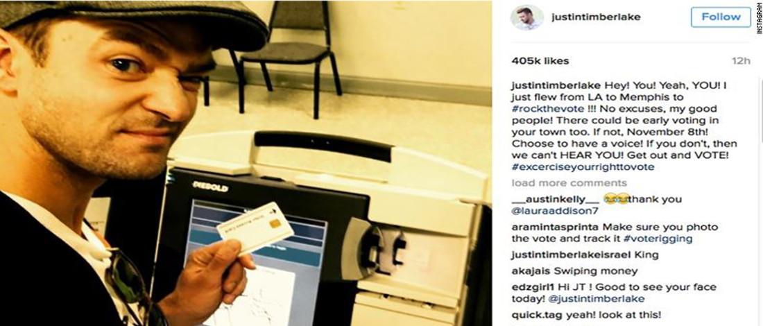 Selfie Dalam Bilik Mengundi, Justin Timberlake Hampir Dipenjara