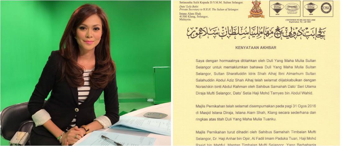 DYMM Sultan Selangor Selamat Bernikah Dengan Penyampai Berita