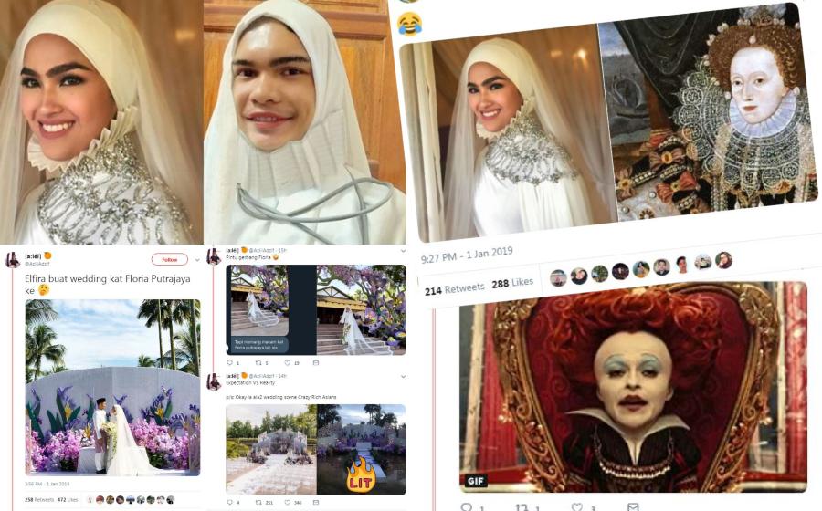 Majlis Pernikahan Elfira Loy: Pelamin Floria, Kolar Baju Cawan Cupcake... 'Kreatif' Betul Netizen Ni!