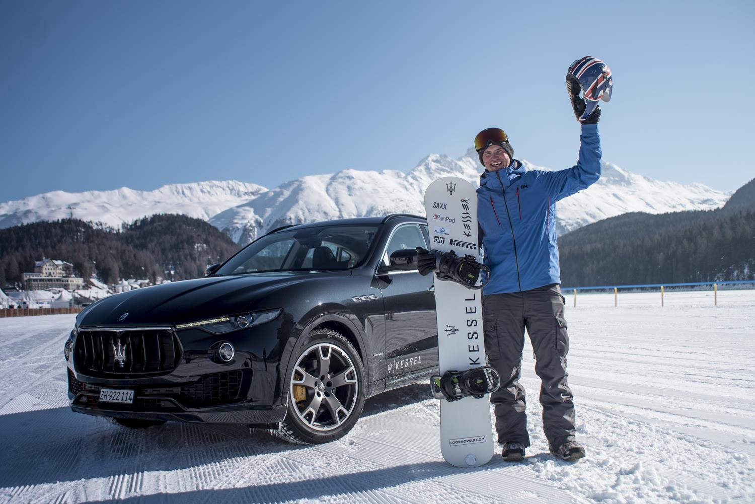 maserati levante tows guy on a board into the record books