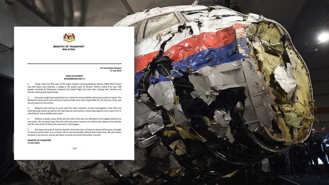 MH17空难5周年,交通部:不会放弃伸张正义!