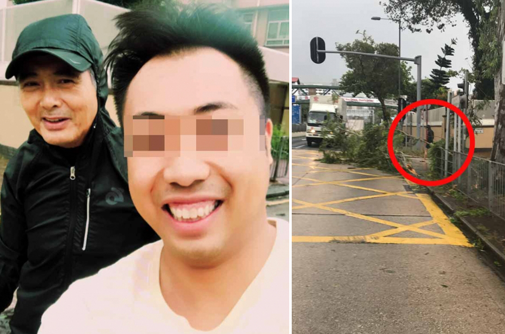 Typhoon Hato: HK Legend Chow Yun-Fat Spotted Clearing Debris By The Roadside