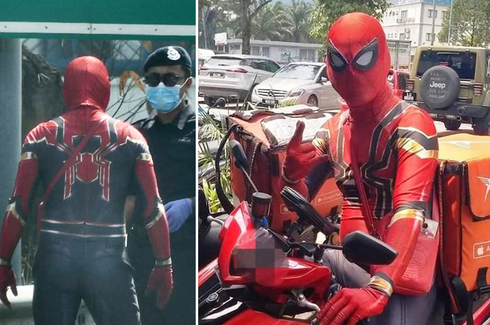 #MYHero: Abang Delivery Frontliner Dresses Up As Spider-Man To Brighten Up Customers' Days