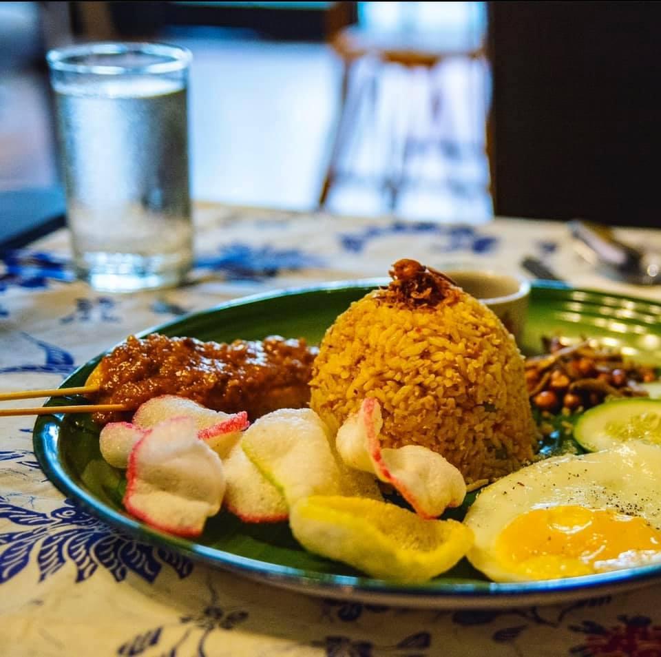 Ayam percik with tumeric rice.