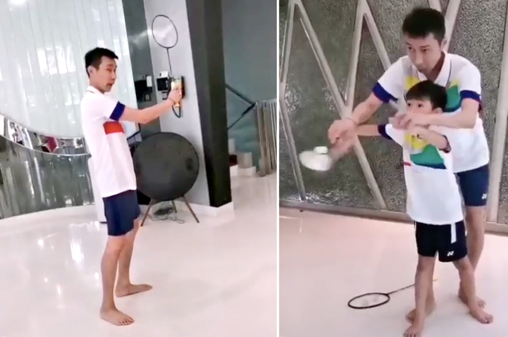 During The MCO, Lee Chong Wei Is Teaching His Kids How To Play Badminton At Home