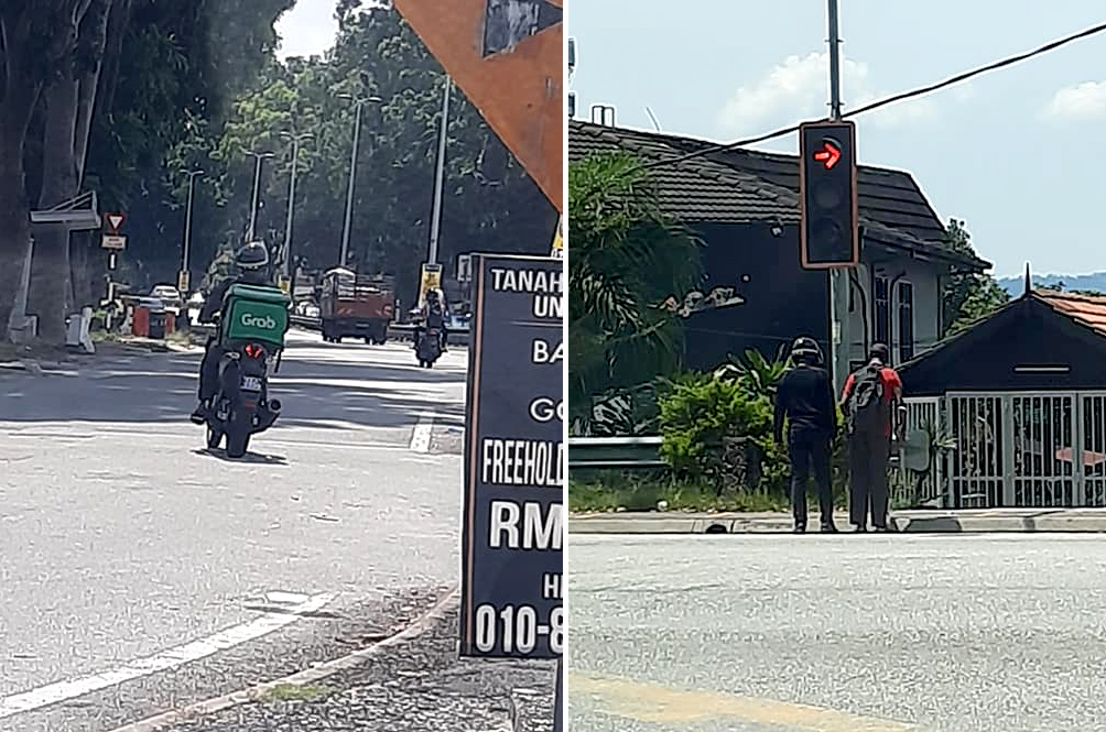Local GrabFood Rider Earns Online Praise After Stopping To Help Blind Man Cross Road