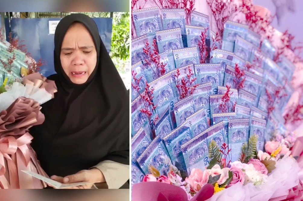 Daughter Surprises Mother With RM3,000 Cash Bouquet Made Using All Her Hard-Earned Savings