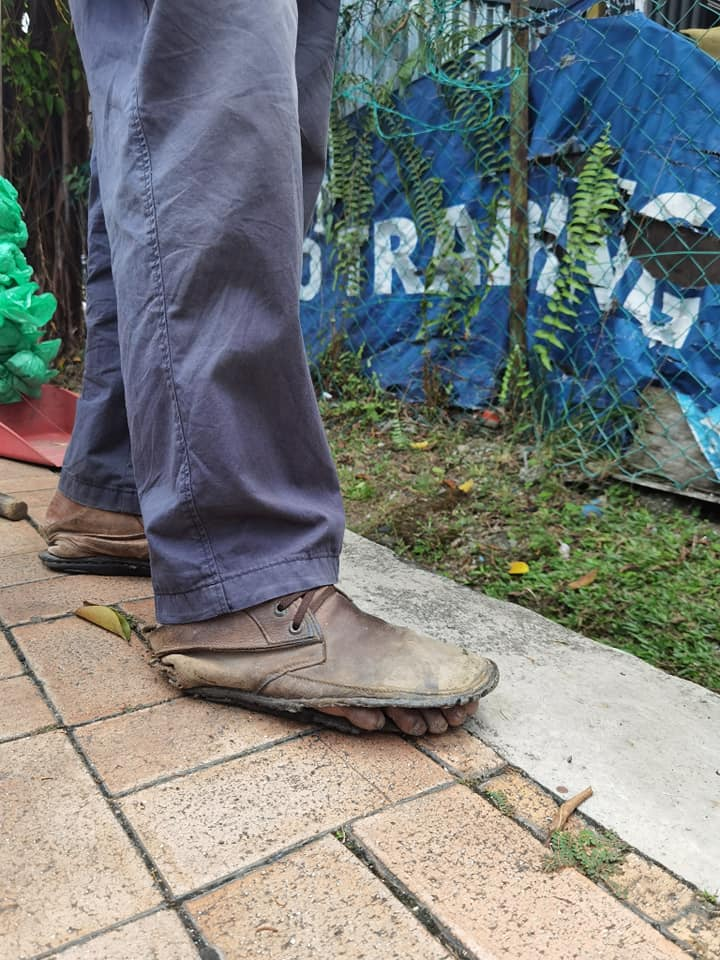 The Uncle and his worn out shoes.
