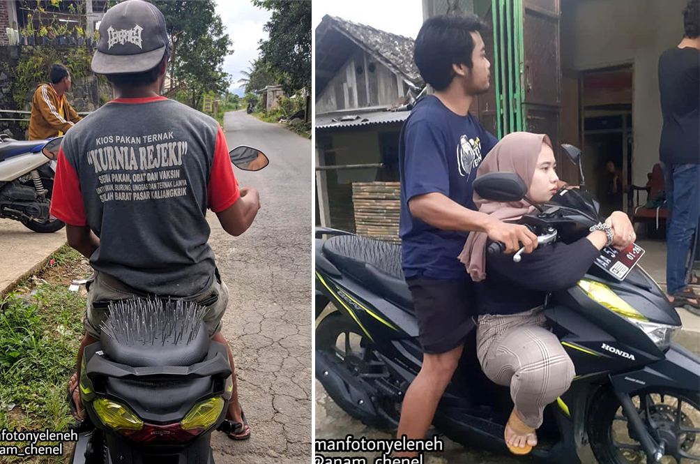 Indonesian Man Proves His Loyalty To His Girlfriend By Modifying His Bike With Nails