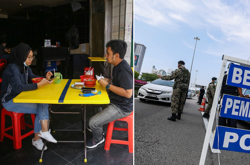 CMCO: Restaurants Can Now Sit Four People Per Table, No More 10km Travel Restriction