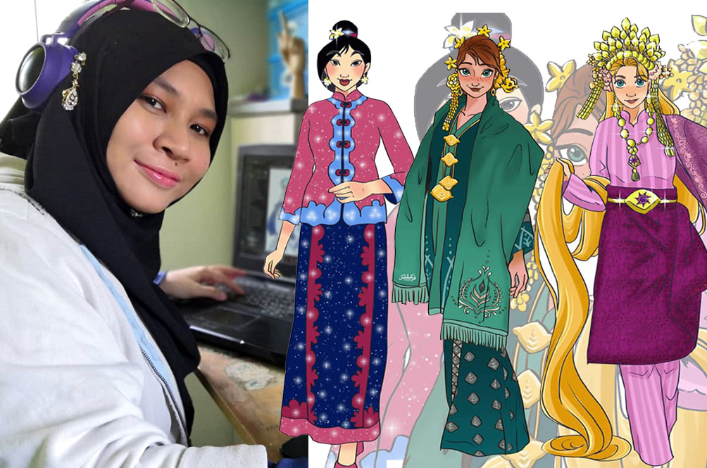 Malaysian Artist Swaps Disney Princesses' Flowy Gowns With Beautiful Local Traditional Costumes
