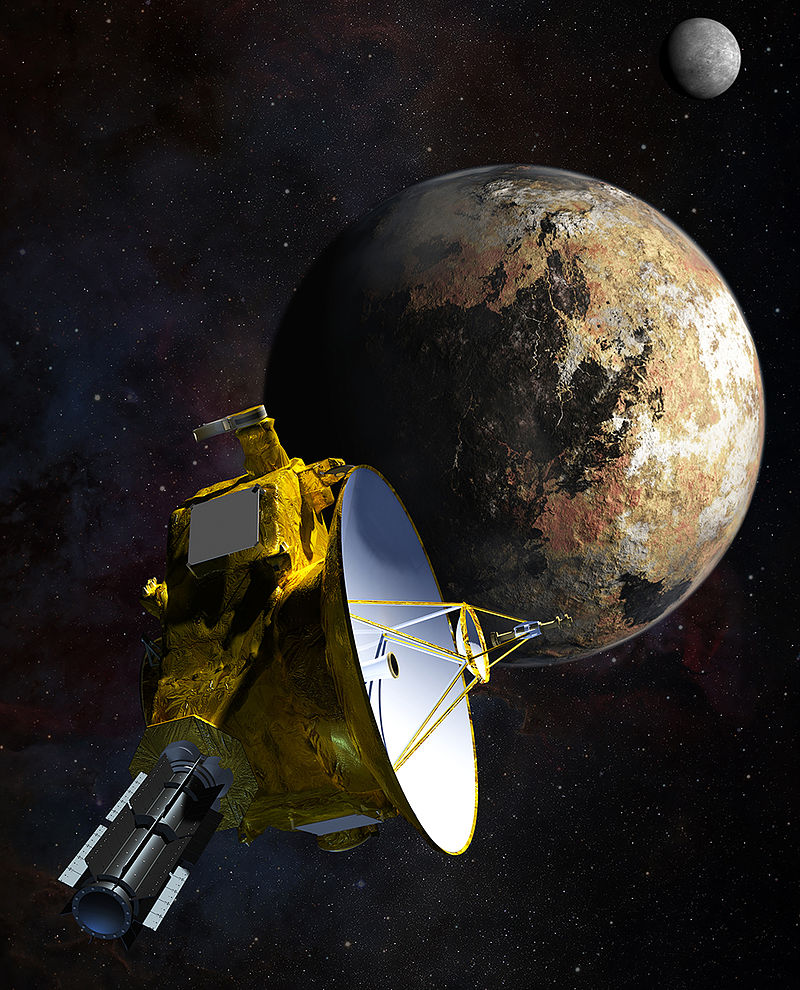 Artist impression: NASA's New Horizons as it approaches the Plutonian system.