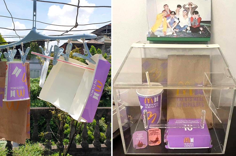 [PHOTOS] BTS Fans Frame Up, Build Shrines For Their McDonald's BTS Meal Packaging