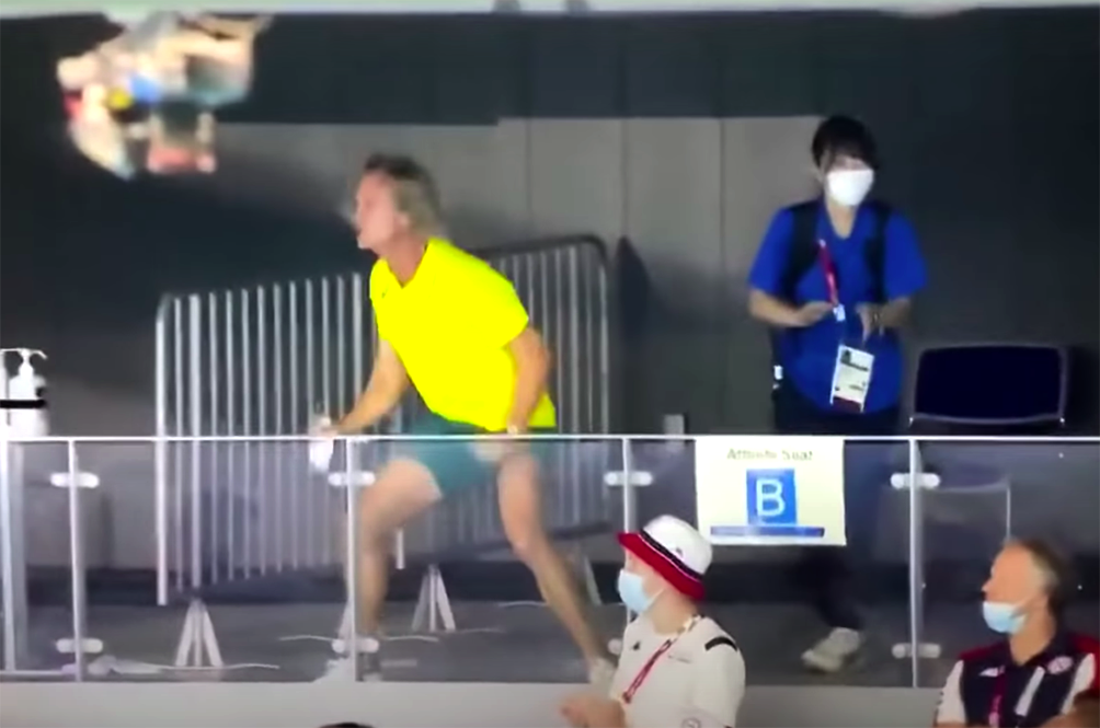 Australia's Olympics Swimming Coach Startles Japanese Volunteer With His Wild Celebrations