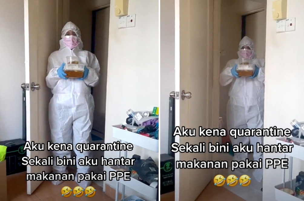 M'sian Man Under Home Quarantine Gets Mini Heart Attack When Wife Turns Up In Full PPE Suit
