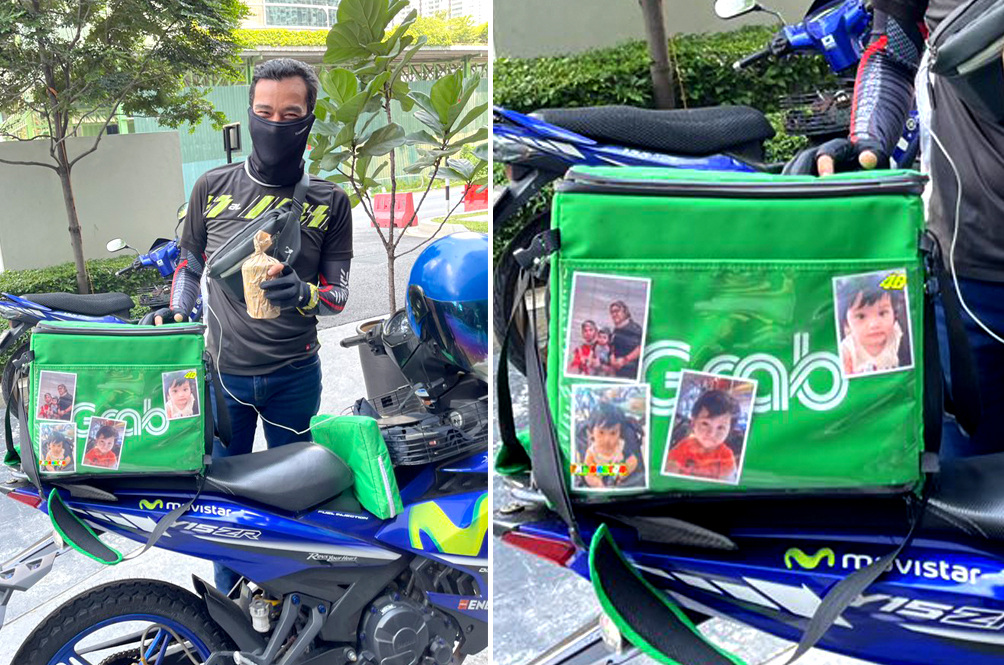 Doing It For The Family: Abang Rider Warms Hearts For Adorning Carrier Bag With Family Pictures