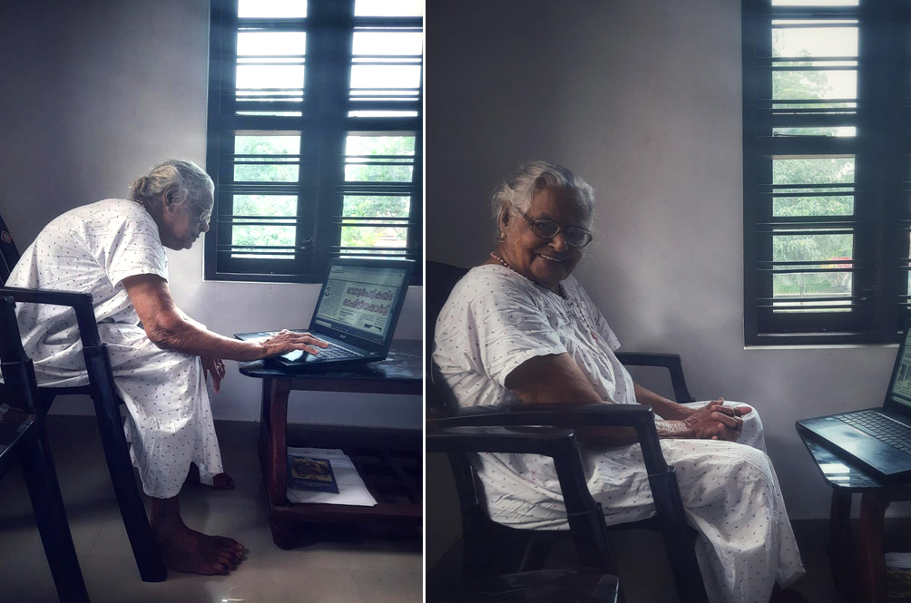 90-Year-Old Grandmother Uses Laptop To Stay Up-To-Date With Current Events; Netizens Impressed