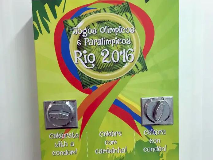 A condom vending machine at the 2016 Rio Games.