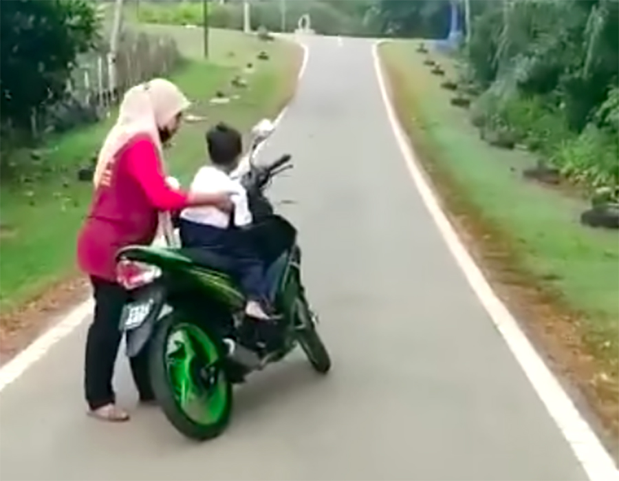 It took a motorcycle to catch up to the boy.