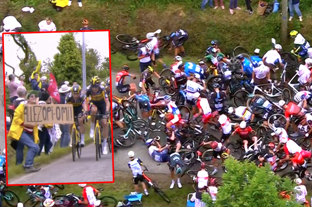 [VIDEO] An Idiot Holding Up A Sign Caused One Of The Biggest Tour De France Crashes Ever Seen