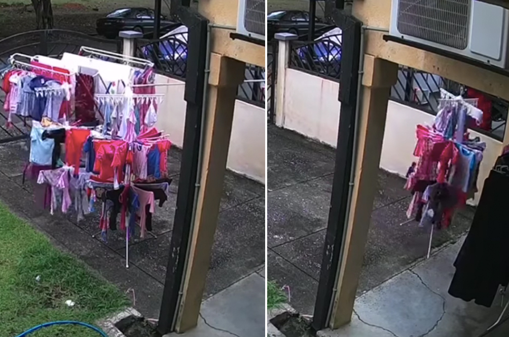 [VIDEO] Cute Clip Of Subang Jaya Man Moving Neighbours' Clothes Away From The Rain Goes Viral
