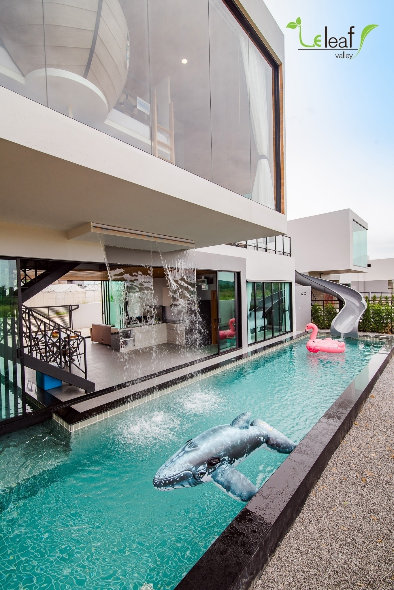 From second floor to pool in two seconds.