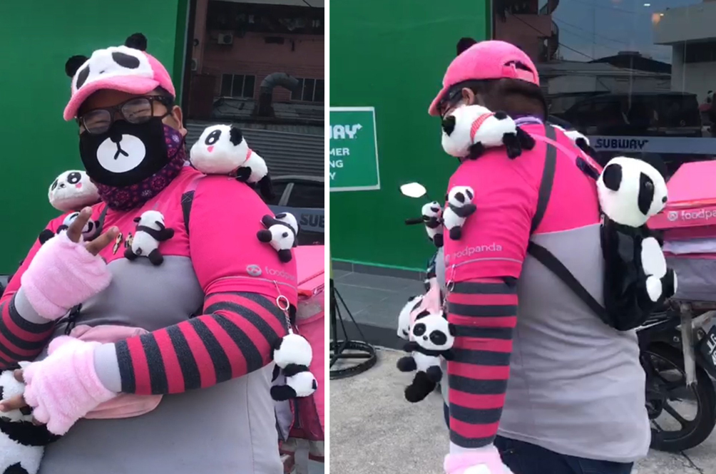 This Foodpanda Rider Loves Pandas So Much, He Hangs Panda Soft Toys All Over His Uniform