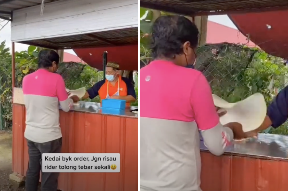 Abang Rider Stops To Help Elderly Stall Owner Make Roti Canai To Fulfil Orders
