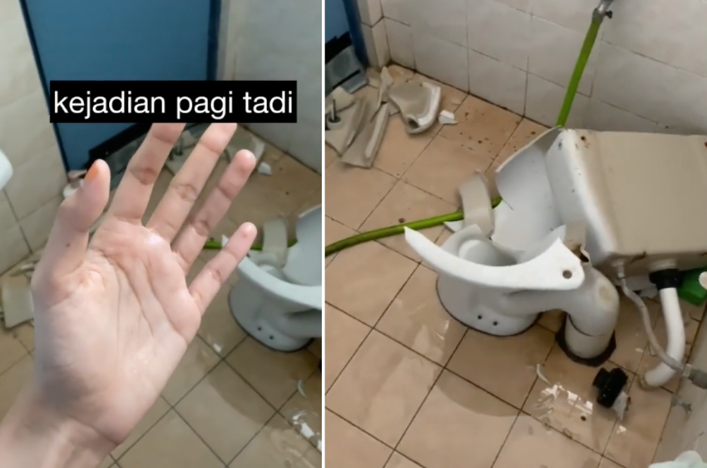 M'sian Woman Shares Horrifying Moment Her Toilet Bowl Shattered Seconds Before She Wanted To Use It