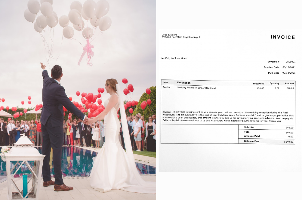 Couple Sends RM997 Invoice To Guests Who RSVPed For Their Wedding But Didn't Turn Up