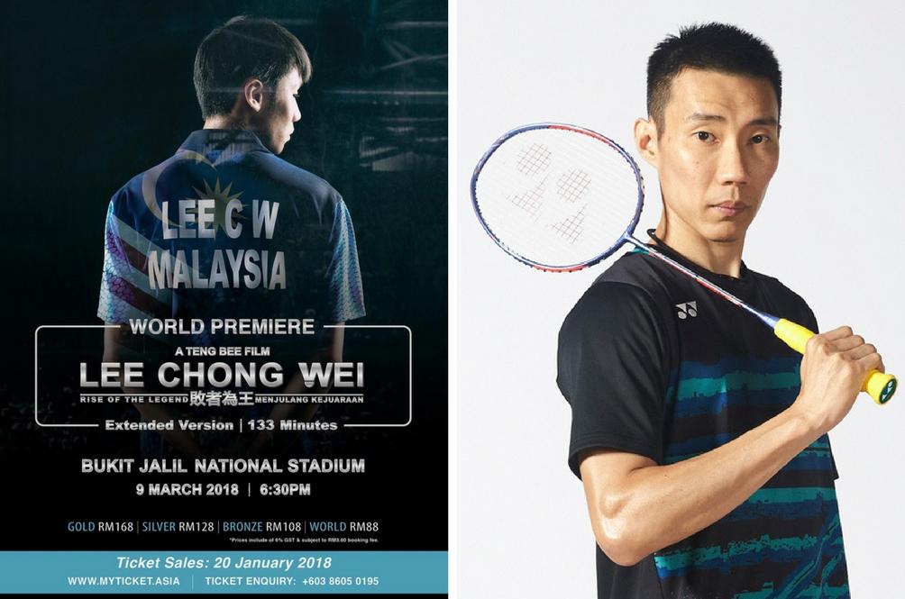 Tiket Tayangan Perdana Filem LEE CHONG WEI Dijual Bermula Dari RM88
