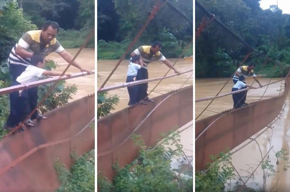 [VIDEO] Budak Tempuh Jambatan Berbahaya Untuk Ke Sekolah Tular