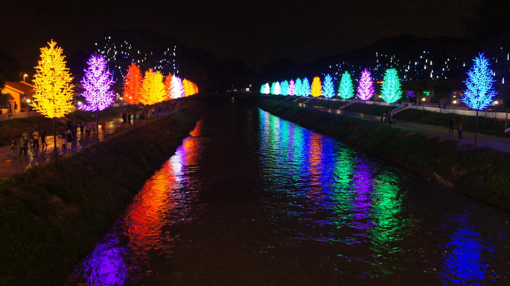 Kinta Riverfront pada waktu malam.