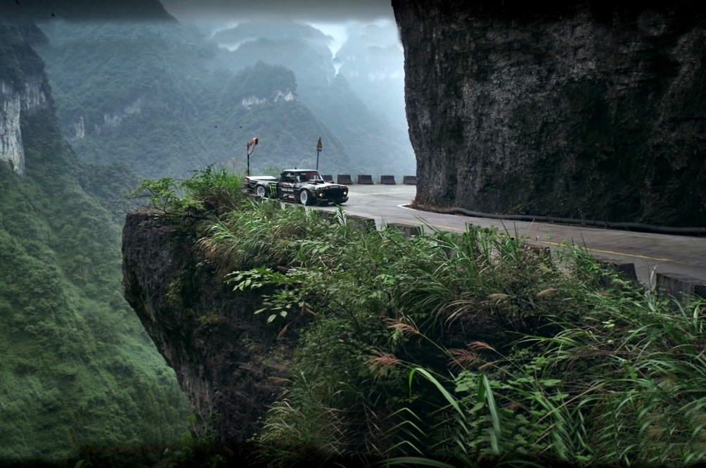 No Fake Effects Here, Ken Block And His Hoonitruck Graze The Limits Of Safety Up Heaven's Road