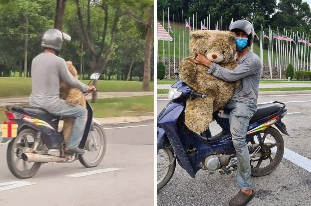 'Anak Saya Mahu Teddy Bear': Father Brings Home Giant Teddy He Finds In Dumpster For Child