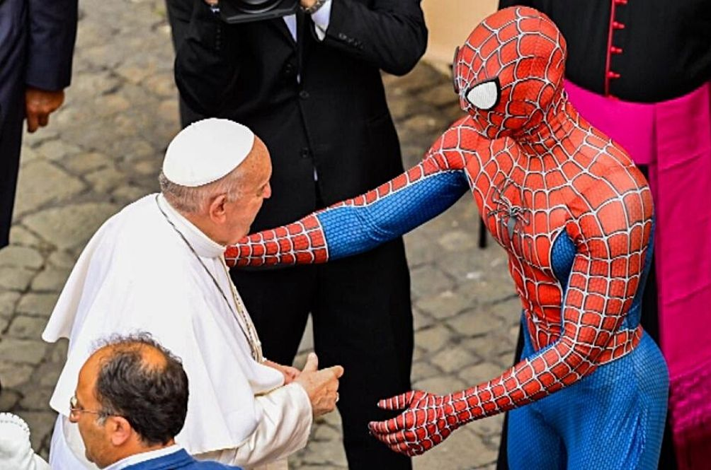 [PHOTOS] Far From Home? Spider-Man Swings By The Vatican To Meet The Pope