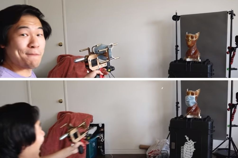 YouTuber Creates Mask Launcher That Shoots Masks Onto People's Faces