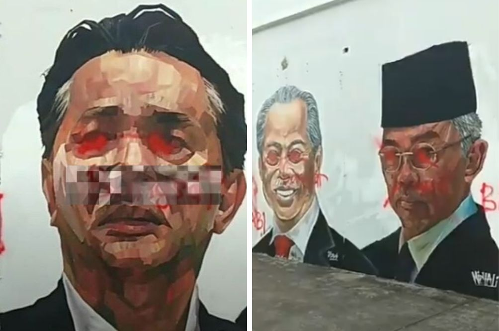 Mural Of Malaysian Figures Which Include The Agong, Prime Minister and Health D-G Vandalised