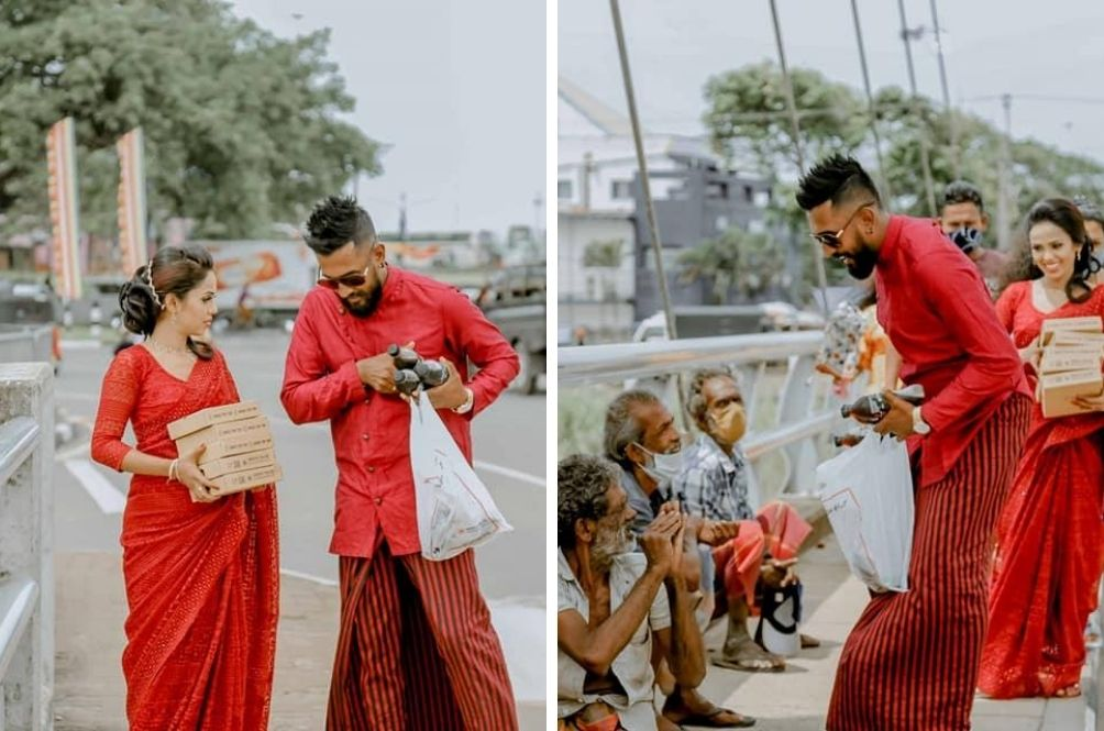 Sri Lankan Couple Get Married And Decide To Share Their Joy By Feeding The Homeless Right After