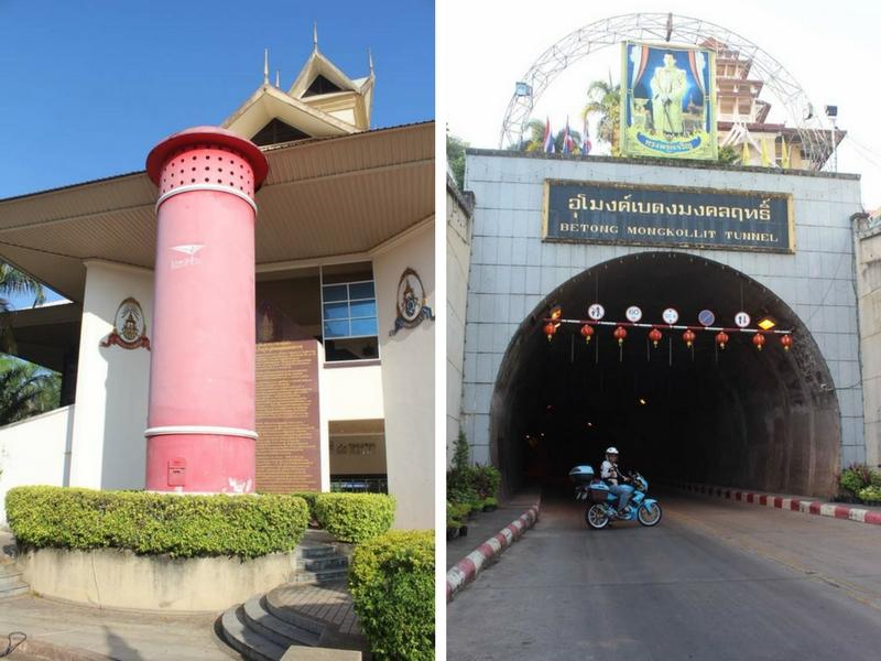 Peti pos terbesar di dunia manakala Betong Mongkollit Tunnel (kanan) antara tarikan pada pengunjung jika ke Betong, Thailand.