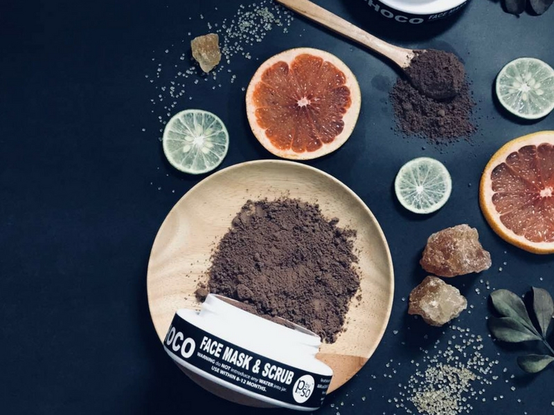 Serbuk koko merupakan antara bahan yang digunakan untuk menghasilkan Face Mask & Scrub.