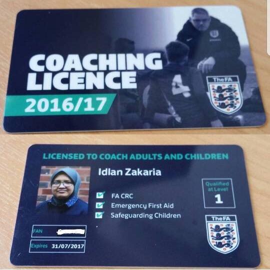 Idlan dihantar mengikuti kursus untuk mendapat tauliah FA (Persatuan Bolasepak England).