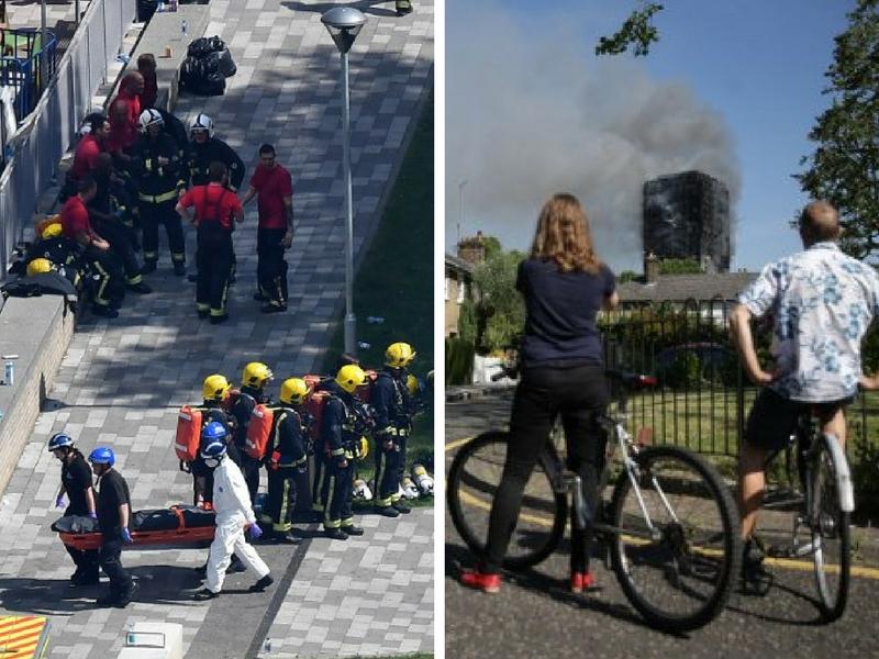 Pasukan penyelamat bertindak menyelamatkan penghuni manakal dua orang awam memerhati kebakaran Grenfell Tower daripada jauh.