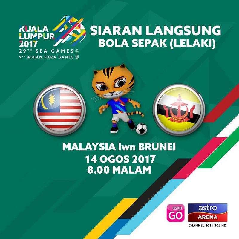 Pelawanan pertama acara bola sepak membabitkan pasukan Kebangsaan menentang Brunei pada malam ini juga boleh ditonton secara langsung menerusi Astro Arena, saluran 801 dan 802 HD.