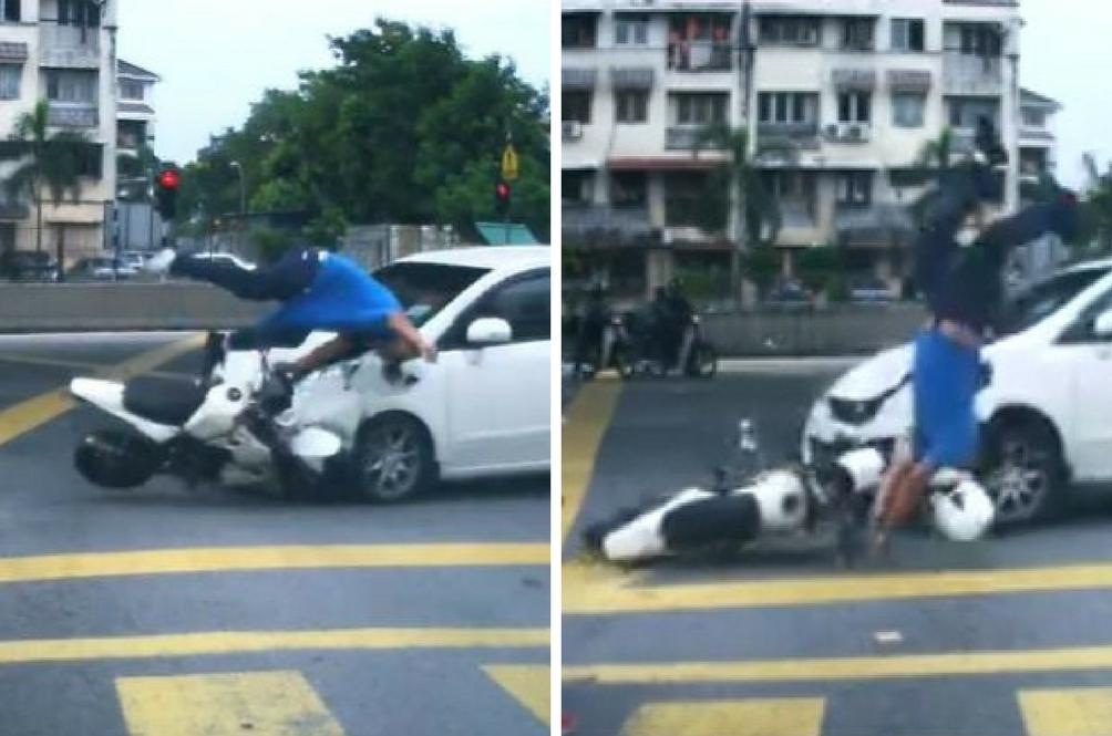 [Video] Penunggang Motosikal Terpelanting Di Persimpangan Lampu Isyarat