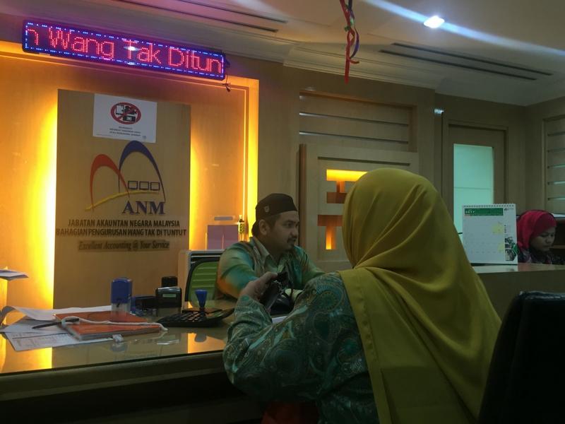 Orang ramai boleh menyemak wang tidak dituntut menerusi kaunter di Bahagian Pengurusan Wang Tak Dituntut, Jabatan Akauntan Negara, Menara Maybank, Kuala Lumpur.