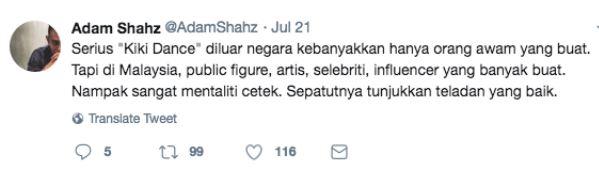 Status Adam Shaz di Twitter yang membuat Fatin Afeefa terasa